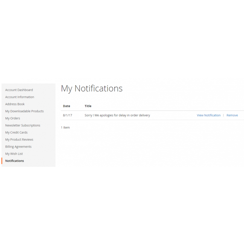 Customer Notification List - Frontend