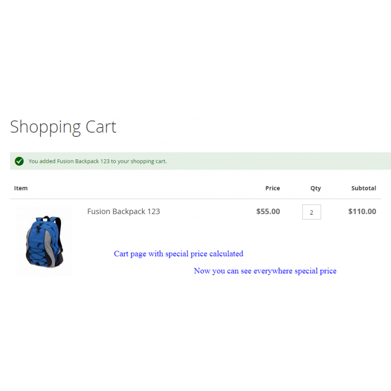 Validation Message On Cart Page
